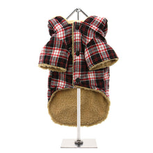 Load image into Gallery viewer, Red - Black Tartan Teddy Bear Duffle Coat