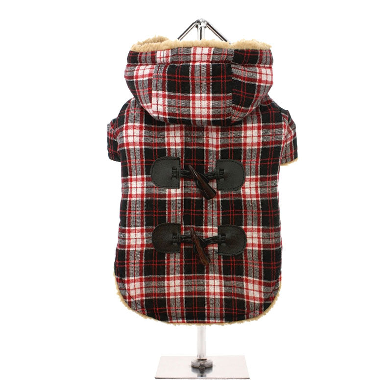 Red - Black Tartan Teddy Bear Duffle Coat