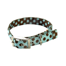 Load image into Gallery viewer, Yellow Dog Design Uptown Blue & Brown Polka Dog Collar