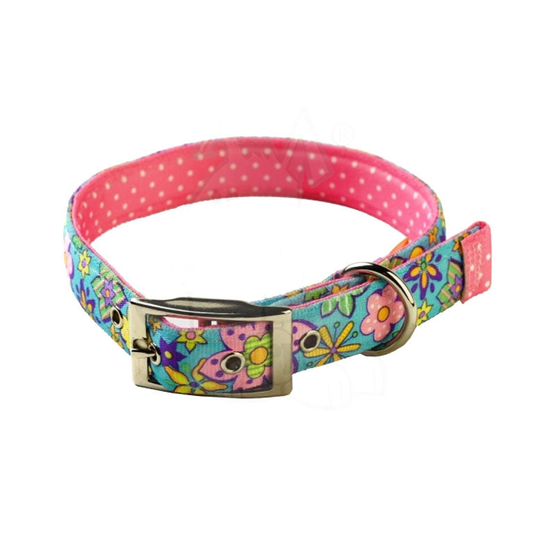 Yellow Dog Design Uptown Flower Power on Pink Polka Dog Collar
