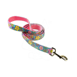 Yellow Dog Design Uptown Flower Power on Pink Polka Lead