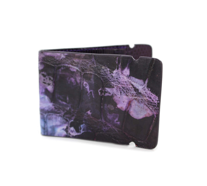 """Purple Smoke"" Hand-Painted Alligator Cash Cover"