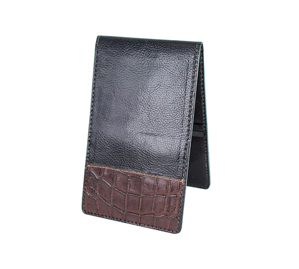 Black leather yardage book with brown alligator tips