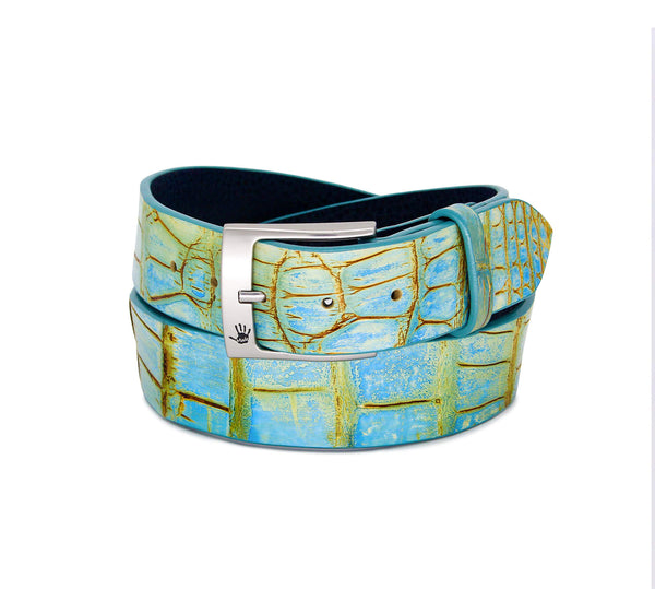 """Vintage Turquoise"" Hand-Painted Belt"