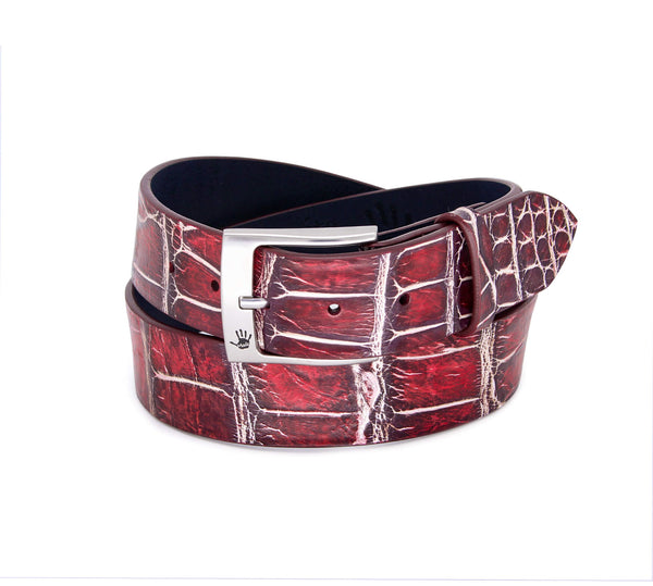"""Winter Cranberry"" Hand-Painted Belt"