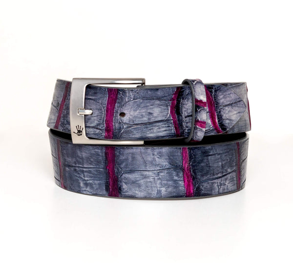 """Charcoal and Burgundy"" Hand-Painted Belt"