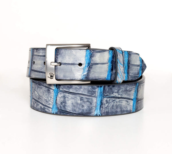"""Charcoal And Turquoise"" Hand-Painted Belt"
