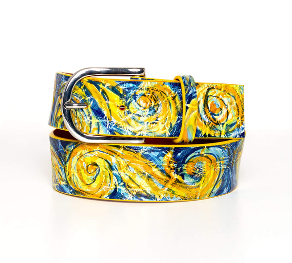 """Starry Night"" Hand-Painted Belt"