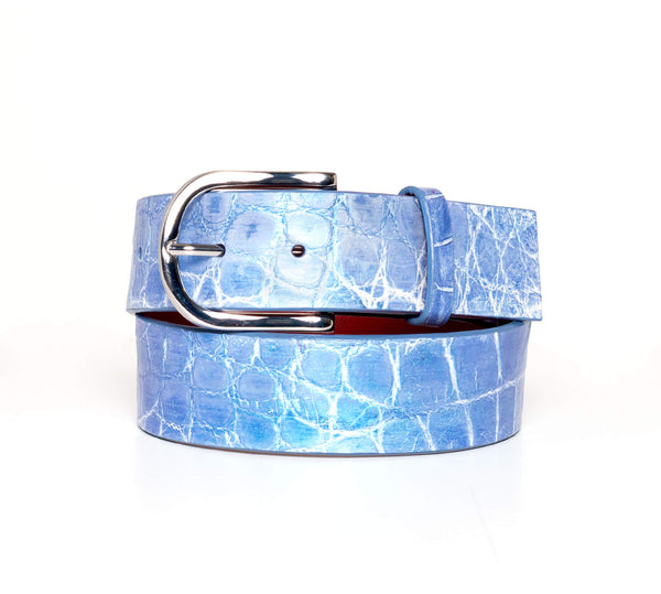 """Metallic Periwinkle"" Hand-Painted Belt"