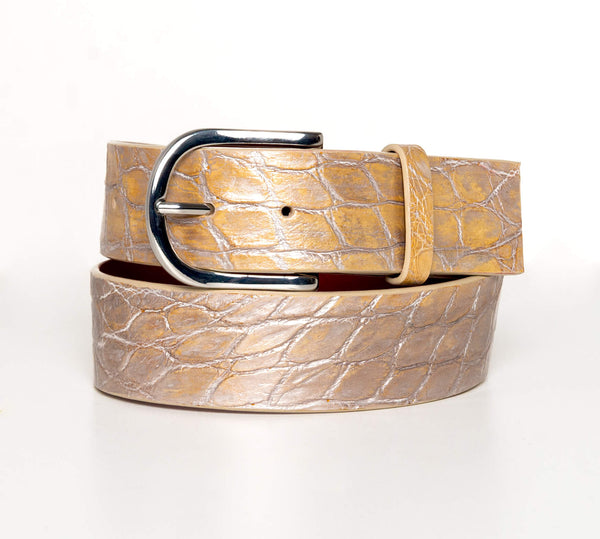 """Metallic Champagne"" Hand-Painted Belt"