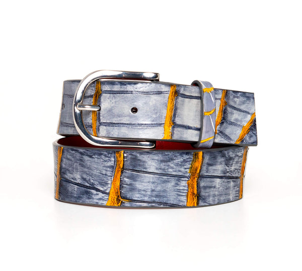 """Charcoal And Marigold"" Hand-Painted Belt"