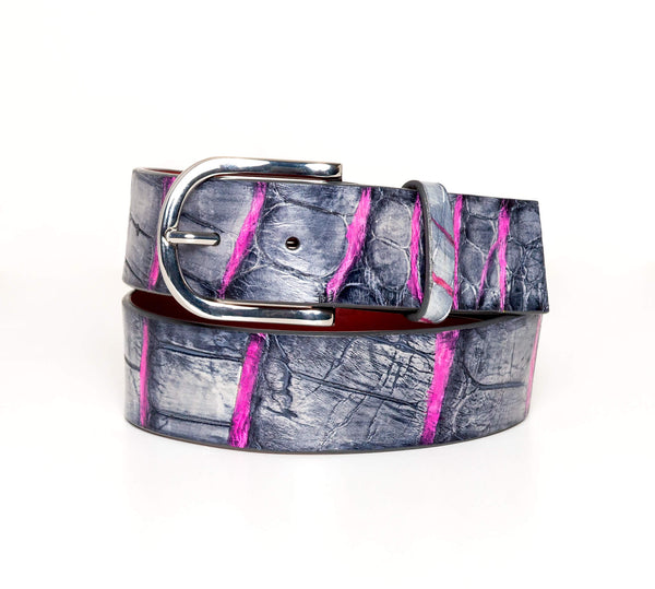 """Charcoal And Pink"" Hand-Painted Belt"