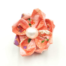 Load image into Gallery viewer, Pink Origami Brooch with Freshwater Pearl