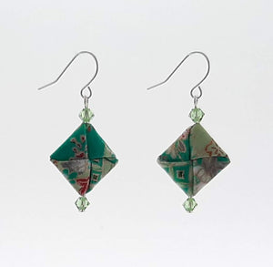 Origami Square Earrings with Swarovski Crystals - Green