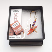 Load image into Gallery viewer, Origami Crane Bookmark with Carnelian & Amethyst