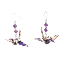 Load image into Gallery viewer, Origami Crane Earrings with Amethyst