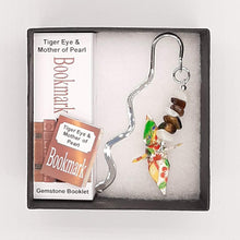 Load image into Gallery viewer, Origami Crane Bookmark with Tiger Eye & Mother of Pearl