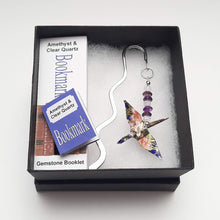 Load image into Gallery viewer, Origami Crane Bookmark with Amethyst & Clear Quartz
