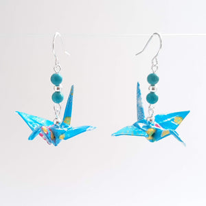 Origami Crane Earrings with Turquoise