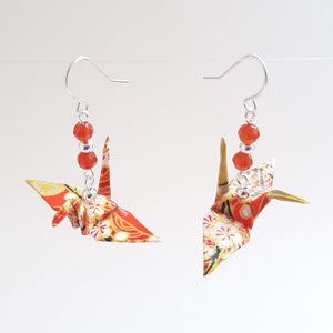 Origami Crane Earrings with Carnelian