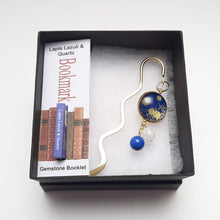 Load image into Gallery viewer, Japanese Paper Bookmark with Lapis Lazuli & Quartz