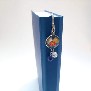 Japanese Paper Bookmark with Lapis Lazuli & Quartz