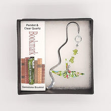 Load image into Gallery viewer, Origami Crane Bookmark with Peridot & Clear Quartz
