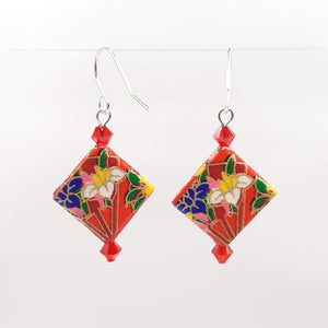 Origami Square Earrings with Swarovski Crystals - Red & Flowers