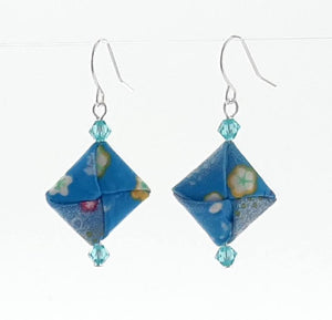 Origami Square Earrings with Swarovski Crystals - Light Blue & Flowers