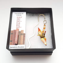 Load image into Gallery viewer, Origami Crane Bookmark with Carnelian & Citrine