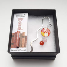 Load image into Gallery viewer, Japanese Paper Bookmark with Carnelian & Rose Quartz