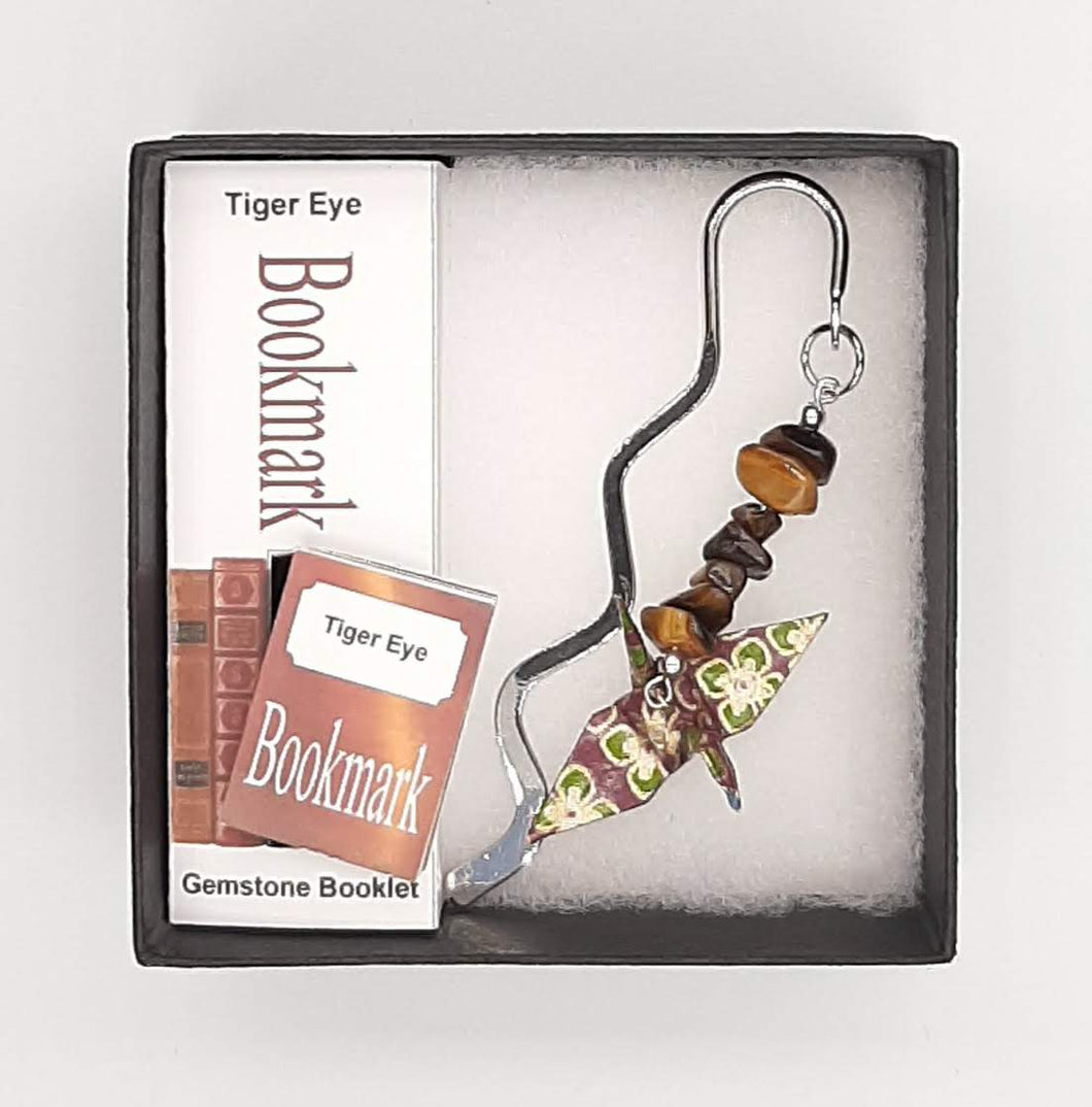 Origami Crane Bookmark with Tiger Eye