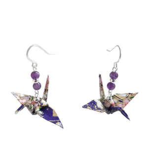 Origami Crane Earrings with Amethyst