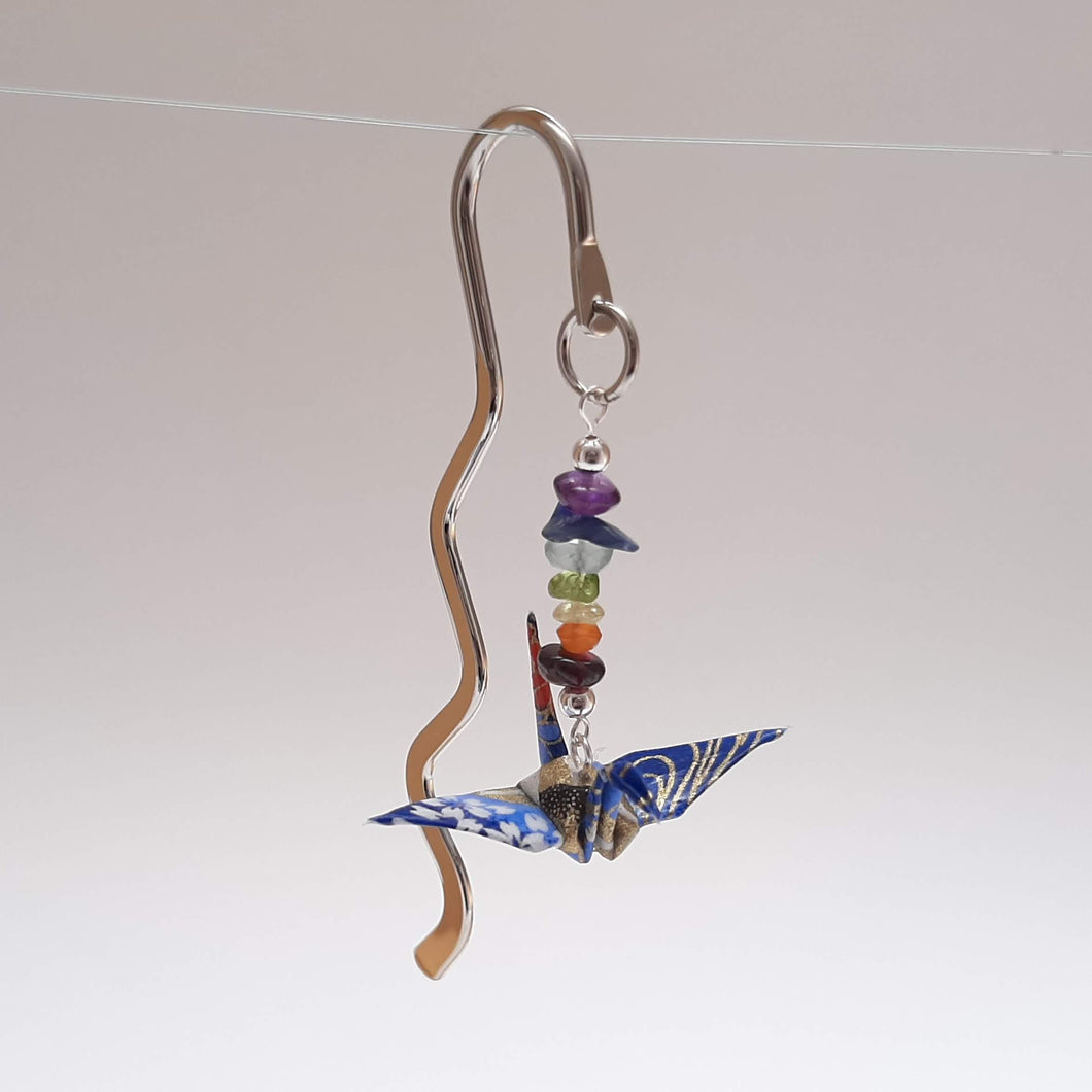 Origami Crane Bookmark with Chakra Stones