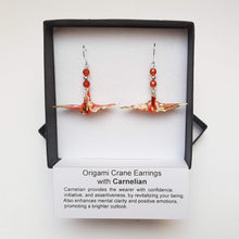 Load image into Gallery viewer, Origami Crane Earrings with Carnelian