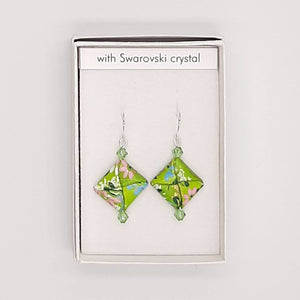 Origami Square Earrings with Swarovski Crystals - Green Swirl