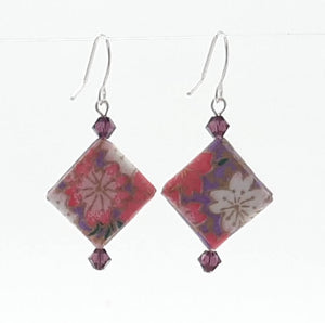 Origami Square Earrings with Swarovski Crystals - Purple