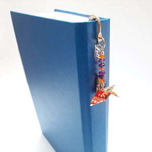 Origami Crane Bookmark with Carnelian & Amethyst