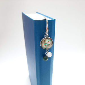 Japanese Paper Bookmark with Jade & Quartz