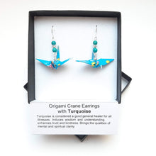 Load image into Gallery viewer, Origami Crane Earrings with Turquoise