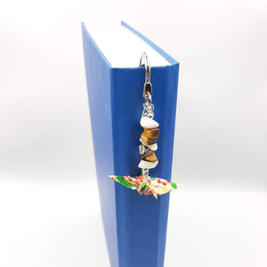 Origami Crane Bookmark with Tiger Eye & Mother of Pearl