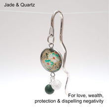 Load image into Gallery viewer, Japanese Paper Bookmark with Jade & Quartz