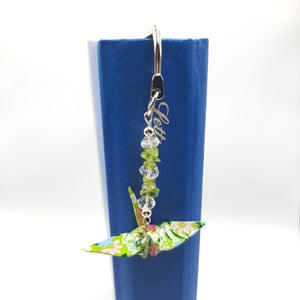 Origami Crane Bookmark with Peridot & Clear Quartz