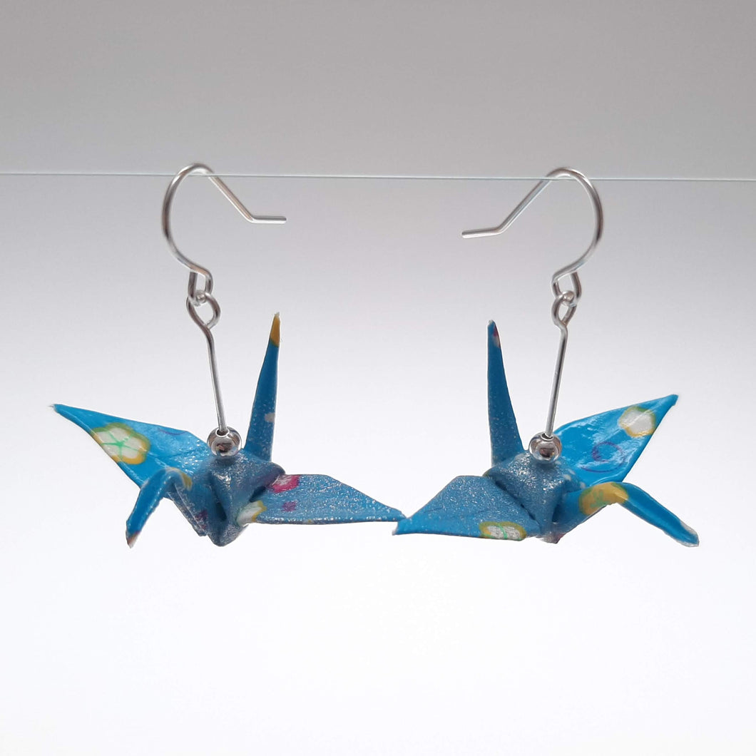 Origami Crane Earrings - Blue with Small Flowers