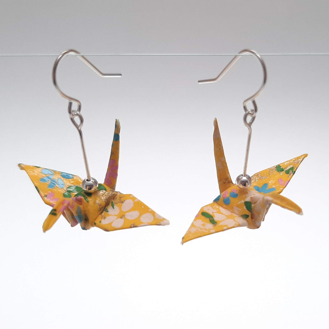 Origami Crane Earrings - Yellow Swirl