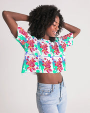 Pink Plumeria Oversized Cropped Top