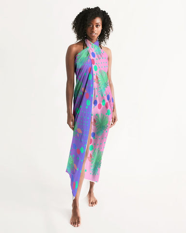 Tropical Leaves Dots Ombre Swim Cover Up