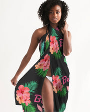 Beach Flora Black Swimsuit Cover Up