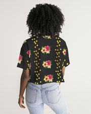 Floral Dots Oversized Black Cropped Tee
