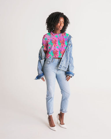 Tropical Floral Ombre Oversized Cropped Tee